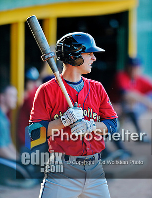 8 July 2012: State College Spikes catcher Ryan Hornback on deck during a game against the Vermont Lake Monsters at Centennial Field in Burlington, Vermont. The Spikes fell to the Lake Monsters 8-2 in NY Penn League action. Mandatory Credit: Ed Wolfstein Photo