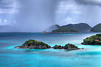 Trunk Cay with a rainstorm approaching<br />