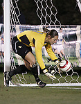 3 November 2006: Florida State goalkeeper Kimberly Diaz collects a deflected ball during the penalty kick shootout just before it could bounce across the goal line. Florida State defeated Wake Forest 4-2 in penalty kicks after playing to a 0-0 draw after overtime at SAS Soccer Park in Cary, North Carolina in an Atlantic Coast Conference women's college soccer tournament semifinal game.