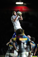 Paul Grant of Bath Rugby wins the ball at a lineout. Aviva Premiership match, between Harlequins and Bath Rugby on November 27, 2016 at the Twickenham Stoop in London, England. Photo by: Patrick Khachfe / Onside Images