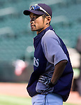 Seattle Mariners right fielder Ichiro Suzuki, of Japan, waits to take batting practice before the Mariner's s opening home game of the season with the Oakland Athletics at SAFECO Field in Seattle April 13, 2012.  © 2012. Jim Bryant Photo. All Rights Reserved.