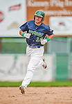 9 July 2015: Vermont Lake Monsters infielder Chris Iriart rounds the bases after hitting a 2-run homer in the 9th inning against the Mahoning Valley Scrappers at Centennial Field in Burlington, Vermont. The Lake Monsters rallied to tie the game 4-4 in the bottom of the 9th, but fell to the Scrappers 8-4 in 12 innings of NY Penn League play. Mandatory Credit: Ed Wolfstein Photo *** RAW Image File Available ****