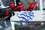 Team China in the second official practice race for the San Francisco America's Cup World Series regatta. 2/10/2012
