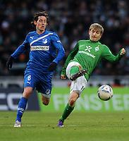 FUSSBALL   1. BUNDESLIGA   SAISON 2011/2012   21. SPIELTAG Werder Bremen - 1899 Hoffenheim                        11.02.2012 Sebastian Rudy (li, TSG 1899 Hoffenheim) gegen Marko Marin (re, SV Werder Bremen)