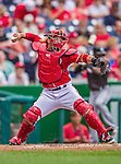 22 September 2013: Washington Nationals catcher Jhonatan Solano in action against the Miami Marlins at Nationals Park in Washington, DC. The Marlins defeated the Nationals 4-2 in the first game of their day/night double-header. Mandatory Credit: Ed Wolfstein Photo *** RAW (NEF) Image File Available ***