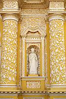 Detail of baroque facade of La Merced Church in Antigua, Guatemala. Antigua is a UNESCO World heritage site...