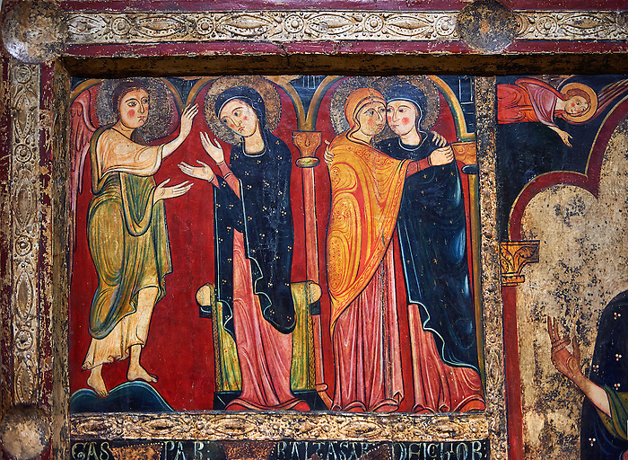 Detail from the twelfth century Romanesque Altar Front of Avia depicting the Annociation of the Virgin and The Visitation with St. Elizabeth, from the church of Santa Maria d'Avia, Spain. National Art Museum of Catalonia, Barcelona. MNAC 15784