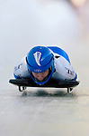 18 November 2005: Tionette Stoddard of New Zealand slides down the track to take 20th place at the 2005 FIBT World Cup Women's Skeleton competition at the Verizon Sports Complex, in Lake Placid, NY. Mandatory Photo Credit: Ed Wolfstein.