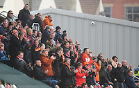 Blackpool fans celebrate their sides second goal<br /> <br /> Photographer Kevin Barnes/CameraSport<br /> <br /> The EFL Sky Bet League Two - Saturday 18th March 2017 - Newport County v Blackpool - Rodney Parade - Newport<br /> <br /> World Copyright &copy; 2017 CameraSport. All rights reserved. 43 Linden Ave. Countesthorpe. Leicester. England. LE8 5PG - Tel: +44 (0) 116 277 4147 - admin@camerasport.com - www.camerasport.com