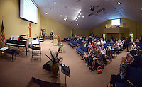 NWA Democrat-Gazette/BEN GOFF @NWABENGOFF<br /> Church members take their seats on Sunday Nov. 8, 2015 before the first service in Village Bible Evangelical Free Church's new building in Bella Vista.