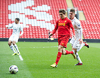 LIVERPOOL, ENGLAND - Easter Monday, April 1, 2013: Liverpool's Adam Morgan in action against Tottenham Hotspur during the Under 21 FA Premier League match at Anfield. (Pic by David Rawcliffe/Propaganda)