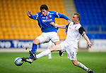 St Johnstone v Inverness Caley Thistle...15.10.11   SPL Week 11.Francisco Sandaza tackled by David Proctor.Picture by Graeme Hart..Copyright Perthshire Picture Agency.Tel: 01738 623350  Mobile: 07990 594431