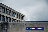 Newly installed Antony Gormley statue on top of the University of East Anglia library. May 2017 UK
