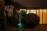 Prefabs at Christmas, in Catford, London. The Catford estate is the largest post-war prefabricated homes estate in the UK. But the 180 prefabs are to be pulled down by the Council in the next 2 years. Some tenants fought for years to save them from demolition. Only 6 which were listed by the English Heritage won't be pulled down.