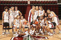 10 October 2006: Team photo: Not in order: Cissy Pierce, Michelle Harrison, Morgan Clyburn, Kristen Newlin, Jayne Appel, Brooke Smith, Jillian Harmon, Christy Titchenal, Markisha Coleman, JJ Hones, Clare Bodensteiner, Candice Wiggins, Melanie Murphy and Rosalyn Gold-Onwude on picture day at Maples Pavilion in Stanford, CA.