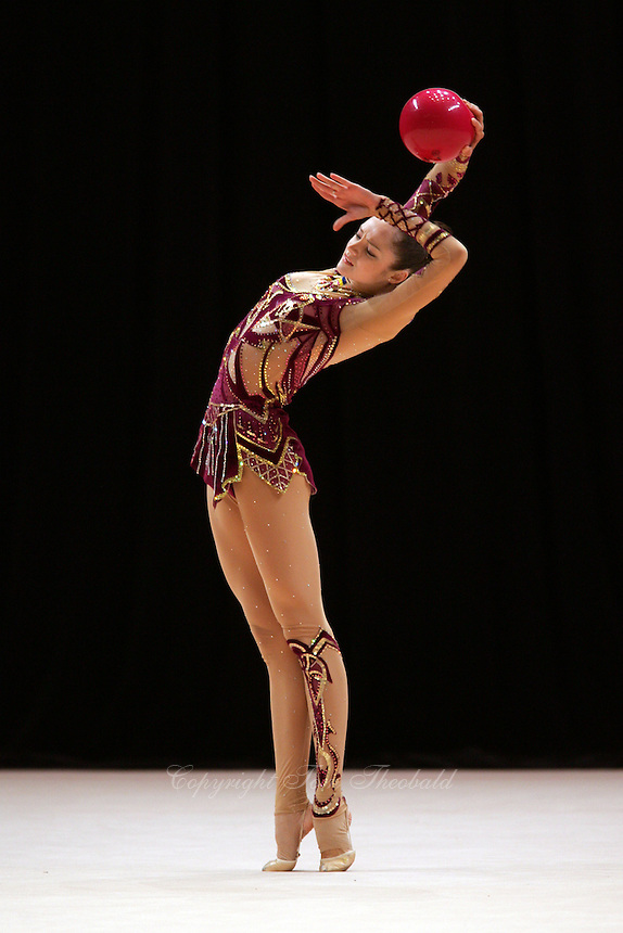 Anna Bessonova of Ukraine (performs with ball) wins Gold, Silver and Bronze in rhythmic gymnastics apparatus finals at World Games from Duisburg, Germany on July 20-21, 2005.  Event finals in rhythmic gymnastics are only held at World Games. (Photo by Tom Theobald)