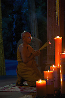 Monk at the Temple and Monastery area near Bayon Temple Siem Reap Cambodia