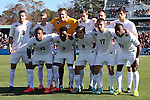 14 December 2014: Virginia's starters. Front row (left to right): Kyler Sullivan, Darius Madison, Pablo Aguilar (GUA), Jake Rozhansky, Sheldon Sullivan. Back row (left to right): Matt Brown, Scott Thomsen, Calle Brown, Todd Wharton, Ryan Zinkhan, and Nick Corriveau. The University of Virginia Cavaliers played the University of California Los Angeles Bruins at WakeMed Stadium in Cary, North Carolina in the 2014 NCAA Division I Men's College Cup championship match. Virginia won the championship by winning the penalty kick shootout 4-2 after the game ended in a 0-0 tie after overtime.