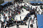 Palestinian youth stand shaping Palestine map at al-Najah University during a rally marking Land Day in in the West Bank city of Nablus on March 31, 2013. The annual demonstrations mark the deaths of six Arab Israeli protesters at the hands of Israeli police and troops during mass protests in 1976 against plans to confiscate Arab land in the northern Galilee region. Photo by Nedal Eshtayah