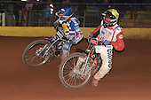 Heat 11: Marvin Sonnier (yellow) and Brandon Freemantle - Hackney Hawks vs Team America - Speedway Challenge Meeting at Rye House - 09/04/11 - MANDATORY CREDIT: Gavin Ellis/TGSPHOTO - Self billing applies where appropriate - Tel: 0845 094 6026
