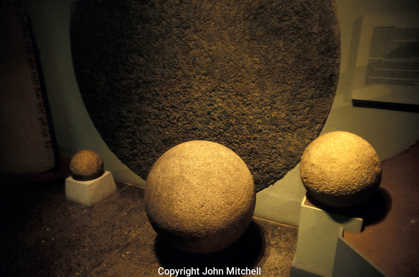 Pre-Columbian stone spheres from the Diquis region of Costa Rica on display in the Museo Nacional de Costa Rica in San Jose.