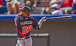 11 March 2013: Atlanta Braves infielder Juan Francisco in action during a Spring Training game against the Washington Nationals at Space Coast Stadium in Viera, Florida. The Braves defeated the Nationals 7-2 in Grapefruit League play. Mandatory Credit: Ed Wolfstein Photo *** RAW (NEF) Image File Available ***