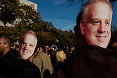 October 30, 2010<br /> Washington DC<br /> District of Columbia<br /> <br /> Comedians Jon Stewart and Stephen Colbert entertained a huge crowd at the &quot;Rally to Restore Sanity&quot; and &quot;Keep Fear Alive&quot; to poking fun at the nation's ill-tempered politics, fear-mongers and doomsayers.<br /> <br /> Part comedy show, part pep talk, the rally drew together tens of thousands stretched across an expanse of the National Mall, a festive congregation of the goofy and the politically disenchanted.<br /> <br /> Glenn Beck masks in the crowd.