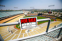 15 June 2011: FOR SALE sign on the upper deck before a Major League Baseball game LA Dodgers vs the Cincinnati Reds at Dodger Stadium during a day game.  Staged Photo Illustration **Editorial Use Only**