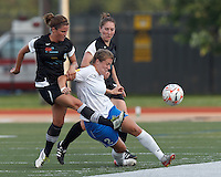 Boston Breakers forward Katie Schoepfer (2) attempts to control the ball as New England Mutiny defender Kelsey Hood (22) defends. In a Women's Premier Soccer League Elite (WPSL) match, the Boston Breakers defeated New England Mutiny, 4-2, at Dilboy Stadium on June 20, 2012.