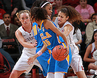 STANFORD, CA - February 12, 2011: Stanford Cardinal's Erica Payne and Joslyn Tinkle during Stanford's 82-59 victory over UCLA at Maples Pavilion.