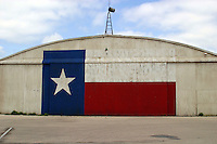 Texas Lone Star Flag on Airport Hanger in Austin, Texas, USA No. 7