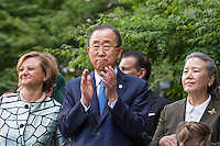 NEW YORK CITY, UNITED STATES SEPTEMBER 16, 2016: Secretary-General Ban Ki-moon, his wife (Right) Yoo Soon-taek, and Cristina Gallach (Left), Under-Secretary-General for Communications and Public Information, take part in the Peace Bell Ceremony to commemorate the International Day of Peace at the United Nations in New York. Photo by VIEWpress/Maite H. Mateo
