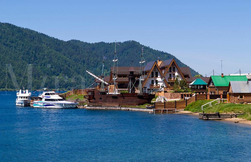 Baikal Legend Hotel with boats, Listvyanka, Lake Baikal, near Irkutsk, Siberia, Russia