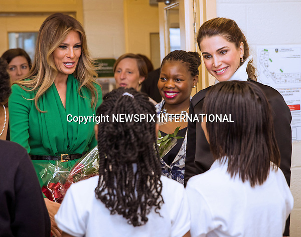 05.04.2017; Washington DC, USA: QUEEN RANIA AND FIRST LADY MELANIA TRUMP<br /> visit the Excel Academy Public Charter School For Girls.<br /> Mandatory Photo Credit: &copy;Royal Hashemite Court/NEWSPIX INTERNATIONAL<br /> <br /> PHOTO CREDIT MANDATORY!!: NEWSPIX INTERNATIONAL(Failure to credit will incur a surcharge of 100% of reproduction fees)<br /> <br /> IMMEDIATE CONFIRMATION OF USAGE REQUIRED:<br /> Newspix International, 31 Chinnery Hill, Bishop's Stortford, ENGLAND CM23 3PS<br /> Tel:+441279 324672  ; Fax: +441279656877<br /> Mobile:  0777568 1153<br /> e-mail: info@newspixinternational.co.uk<br /> &ldquo;All Fees Payable To Newspix International&rdquo;