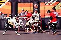1997:  Former RHI players participate in the 1997 NHL Breakout grass roots roller hockey program in Santa Monica, CA.  Eric Rice, Chris Chris Miller, Pat Brisson.