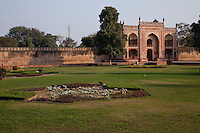 Agra, India.  Entrance Gate into the Garden Surrounding the Itimad-ud-Dawlah.