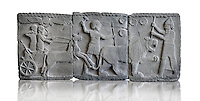 Relief panels depicting a lion hunt found in the palace district in the ruins of Coba Hoyuk, also known as Sakçe Gözü or Sakcagozu, archaeological site in southeastern Anatolia, Turkey.  Warriors are fighting with the lion from a chariot and on foot. The soldiers in the chariot have armour as does the horse  The archer, probably the ruler, is under the protection of the gods, indicated by the winged sun above his head. Basalt to 750 BC, The Pergamon Museum, Berlin inv no VA 971