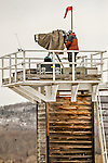 8 January 2016: Videographer Todd Bissonette covers the  the BMW IBSF World Cup Bobsled and Skeleton Championships from atop a camera tower at the Olympic Sports Track in Lake Placid, New York, USA. Mandatory Credit: Ed Wolfstein Photo *** RAW (NEF) Image File Available ***