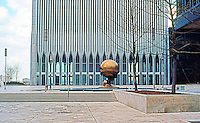 "N.Y. City: World Trade Center, Plaza. Minoru Yamasaki & Assoc., Emery Roth & Sons, 1970-77. Sculpture ""The Shield"" by German Sculptor Fritz Koenig.  Photo '78."