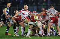 Willi Heinz of Gloucester Rugby box-kicks the ball. Aviva Premiership match, between Bath Rugby and Gloucester Rugby on February 5, 2016 at the Recreation Ground in Bath, England. Photo by: Patrick Khachfe / Onside Images