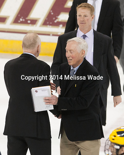 Red Berenson (Michigan - Head Coach), Jerry York (BC - Head Coach), Greg Brown (BC - Associate Head Coach) - The Boston College Eagles defeated the visiting University of Michigan Wolverines 5-1 (EN) on Saturday, December 13, 2014, at Kelley Rink in Conte Forum in Chestnut Hill, Massachusetts.