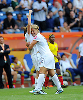 Heather O'Reilly (l) and Amy Le Peilbet of team USA celebtrate after scoring 1:0 during the FIFA Women's World Cup at the FIFA Stadium in Sinsheim, Germany on July 2nd, 2011.
