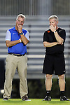 27 October 2016: Duke head coach Robbie Church (left) with Clemson assistant coach Jeff Robbins (right). The Duke University Blue Devils hosted the Clemson University Tigers at Koskinen Stadium in Durham, North Carolina in a 2016 NCAA Division I Women's Soccer match. Clemson won the game 1-0.
