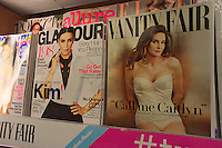 A copy of the latest Vanity Fair magazine at a newsstand in New York, featuring Caitlyn Jenner, formerly Bruce Jenner on the cover and in a photo spread inside. (© Richard B. Levine)