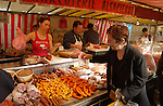 Shopping at the fresh food market at Bastile in Paris.