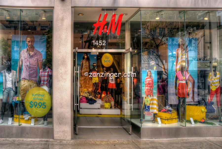 H & M, Clothing Store, Third Street Promenade, Downtown, shopping, street mall; Santa Monica; CA;