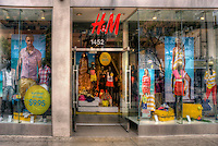 H & M, Clothing Store, Third Street Promenade, Downtown, shopping, street mall; Santa Monica; CA;