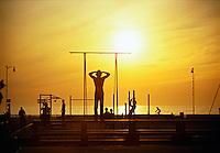 Venice, Beach, CA, Muscle Beach, Ocean, Sunset, Orange, Sky High dynamic range imaging (HDRI or HDR)