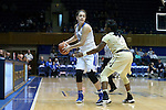29 January 2017: Duke's Rebecca Greenwell (left) and Wake Forest's Amber Campbell (2). The Duke University Blue Devils hosted the Old Dominion University Monarchs at Cameron Indoor Stadium in Durham, North Carolina in a 2016-17 Division I Women's Basketball game. Duke won the game 71-43.
