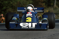 BOWMANVILLE, ONT: Jody Scheckter drives the six-wheel Tyrrell P34 4/Ford Cosworth DFV during practice for the Canadian Grand Prix on October 3, 1976, at Mosport Park near Bowmanville, Ontario.